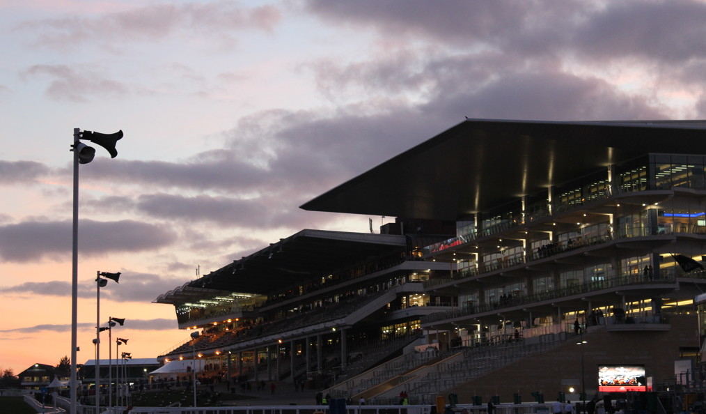 cheltenham racecourse empty at dusk after a festival meeting
