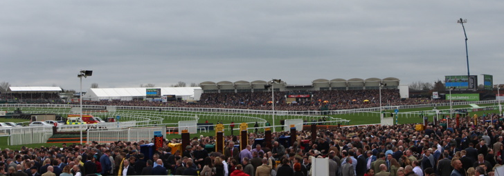 Racegoers at a packed Cheltenham Racecourse