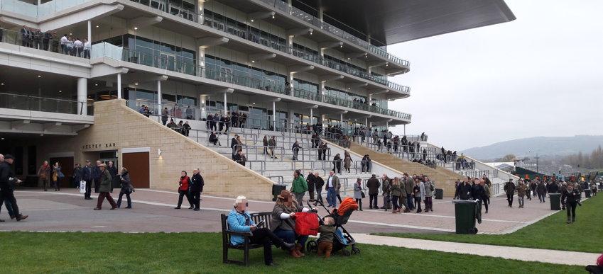 spectators wait for racing to begin at cheltenham