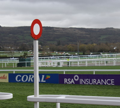 close up of winning post at cheltenham
