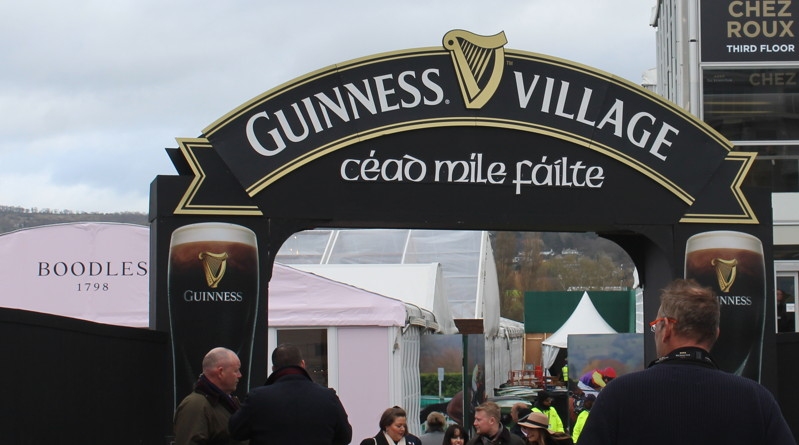 guiness village sign at cheltenham racecourse