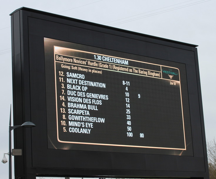 novices hurdle ladies day race information board