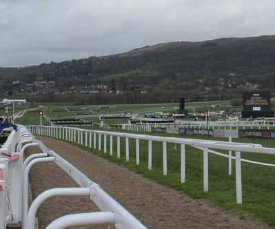 view down the straight at cheltenham racecourse