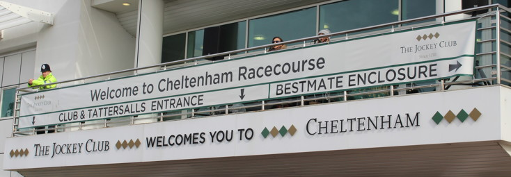 welcome to cheltenham sign outside Cheltenham racecourse 2