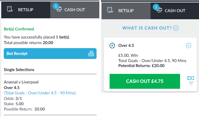 screenshot example of a cash out