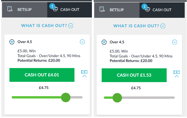 screenshot example of a partial cash out