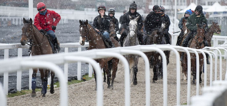 snow at cheltenham racecourse