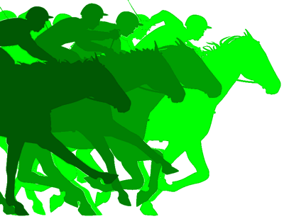 horses and jockeys in silhouette