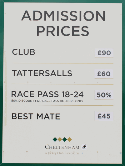cheltenham festival admission prices board