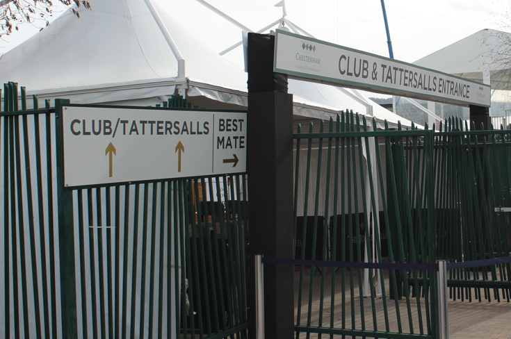 club and tatterstalls entrance at Cheltenham Racecourse